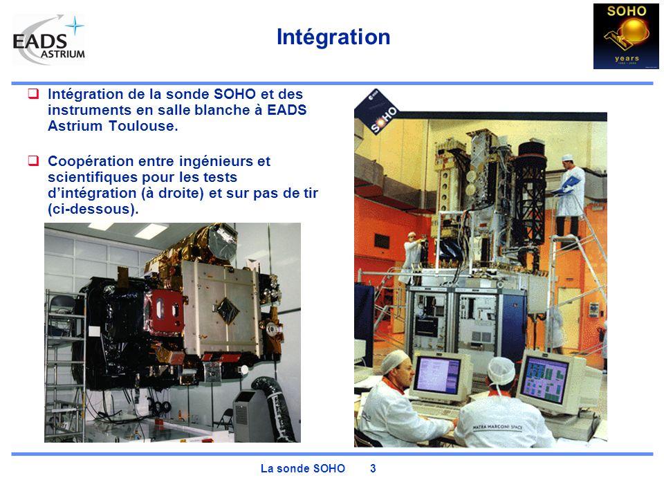 La sonde SOHO 3 Intégration Intégration de la sonde SOHO et des instruments en salle blanche à EADS Astrium Toulouse. Coopération entre ingénieurs et