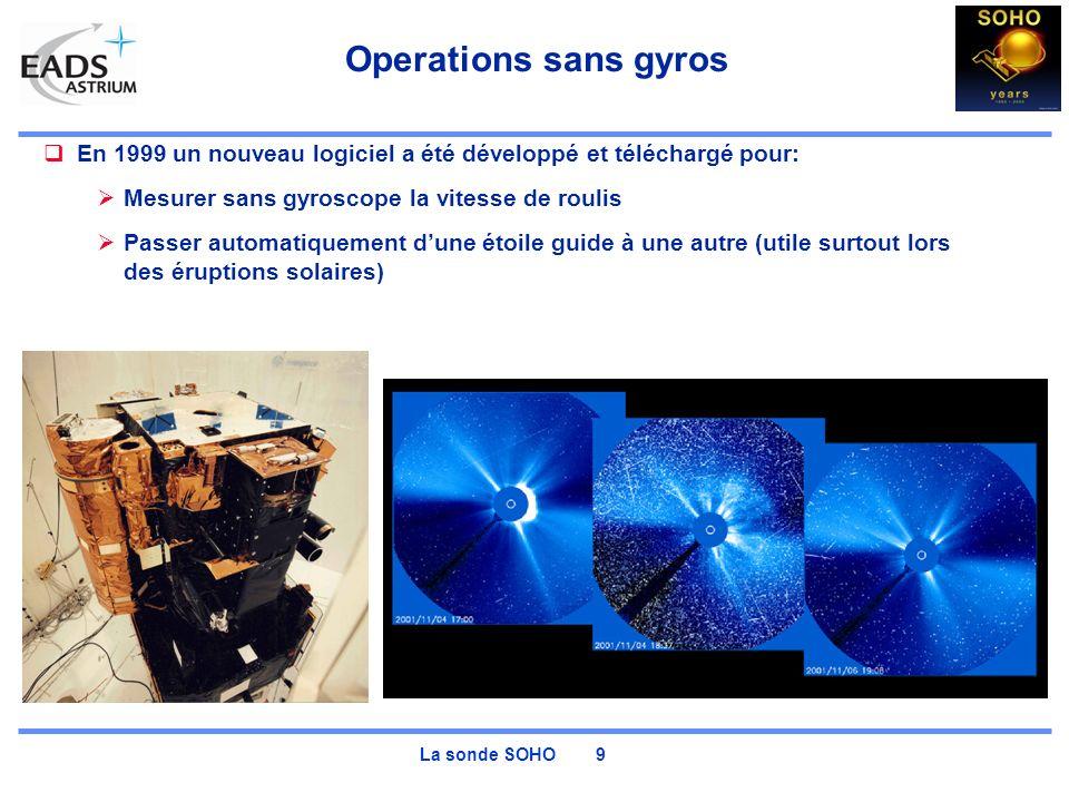 La sonde SOHO 9 Operations sans gyros En 1999 un nouveau logiciel a été développé et téléchargé pour: Mesurer sans gyroscope la vitesse de roulis Passer automatiquement dune étoile guide à une autre (utile surtout lors des éruptions solaires)