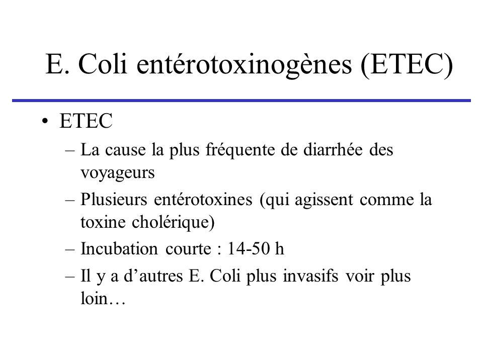 E. Coli entérotoxinogènes (ETEC) ETEC –La cause la plus fréquente de diarrhée des voyageurs –Plusieurs entérotoxines (qui agissent comme la toxine cho