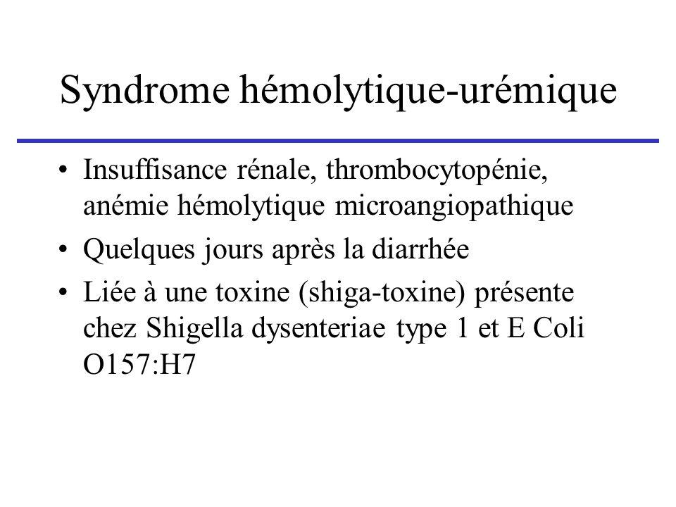 Syndrome hémolytique-urémique Insuffisance rénale, thrombocytopénie, anémie hémolytique microangiopathique Quelques jours après la diarrhée Liée à une