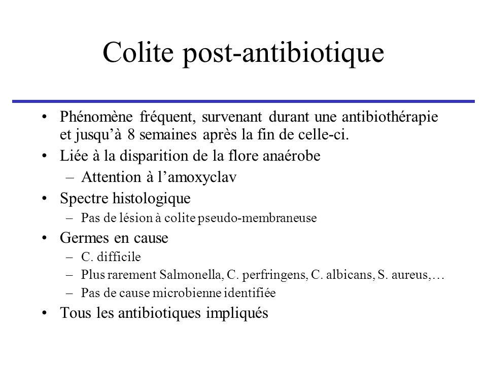 Colite post-antibiotique Phénomène fréquent, survenant durant une antibiothérapie et jusquà 8 semaines après la fin de celle-ci. Liée à la disparition