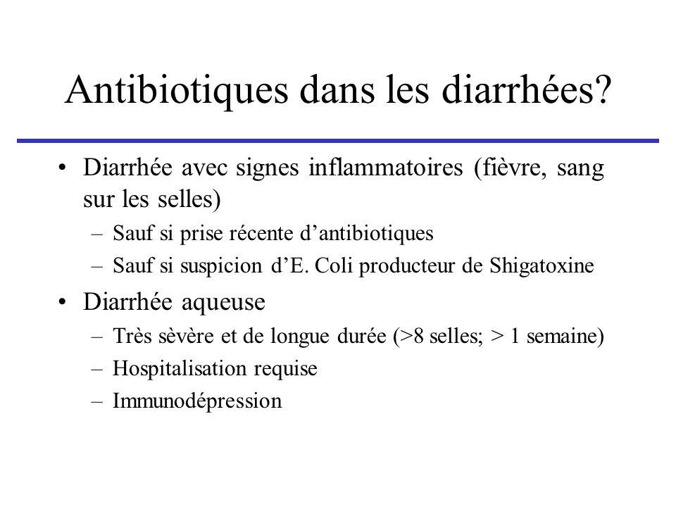 Antibiotiques dans les diarrhées? Diarrhée avec signes inflammatoires (fièvre, sang sur les selles) –Sauf si prise récente dantibiotiques –Sauf si sus
