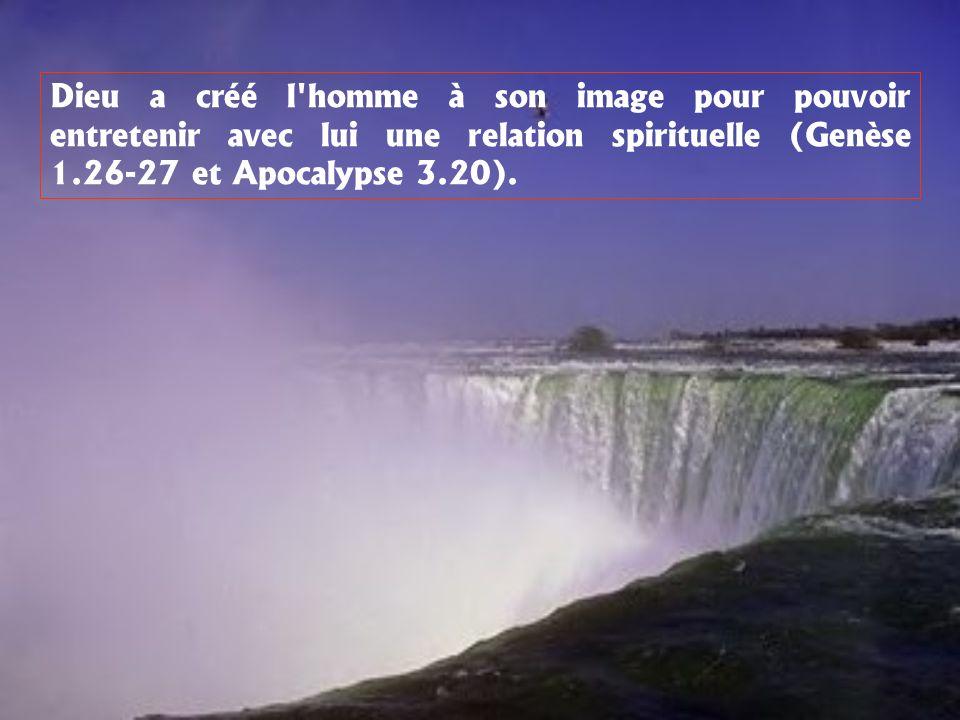 Dieu a créé l'homme à son image pour pouvoir entretenir avec lui une relation spirituelle (Genèse 1.26-27 et Apocalypse 3.20).
