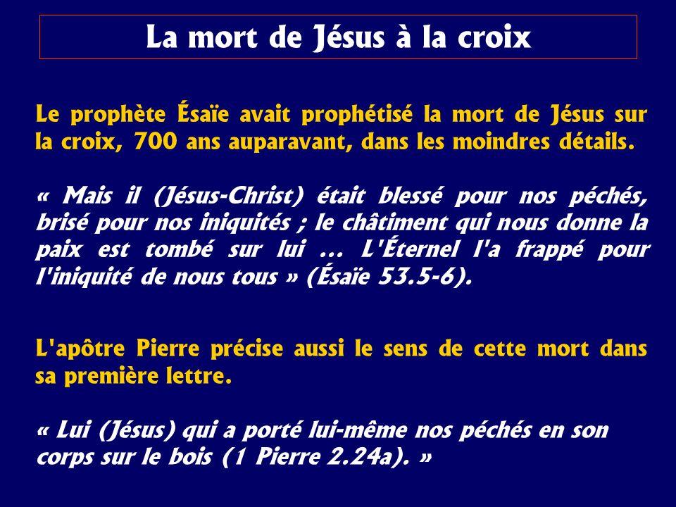 Le prophète Ésaïe avait prophétisé la mort de Jésus sur la croix, 700 ans auparavant, dans les moindres détails. « Mais il (Jésus-Christ) était blessé