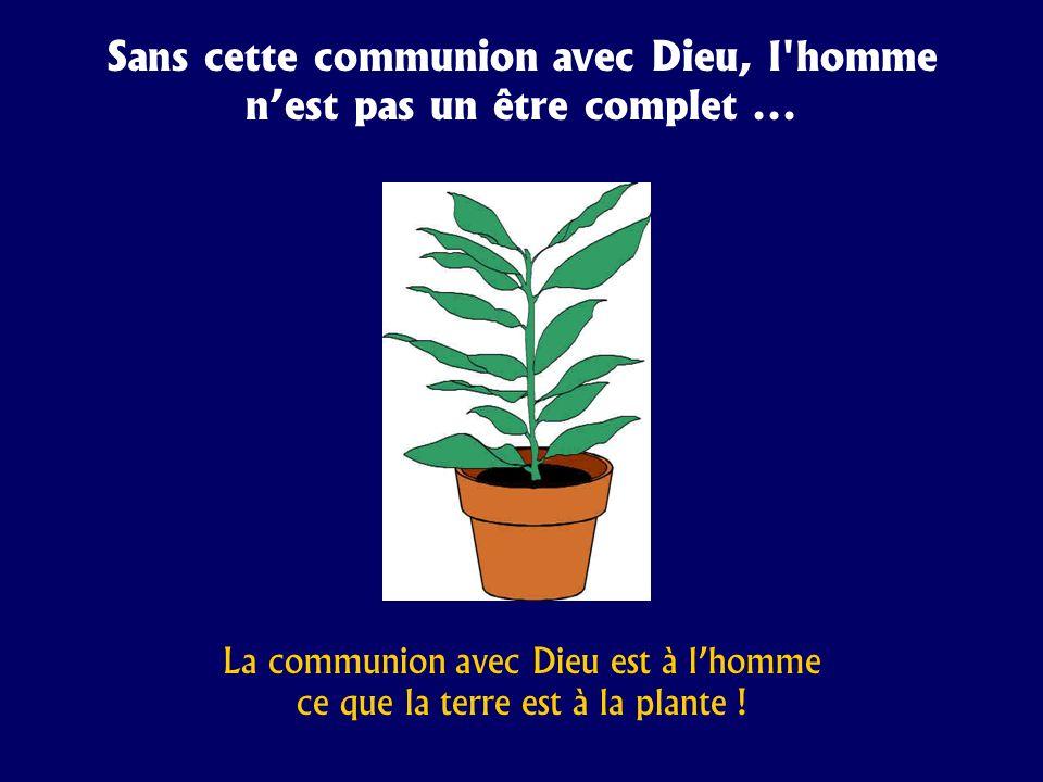 Sans cette communion avec Dieu, l'homme nest pas un être complet... La communion avec Dieu est à lhomme ce que la terre est à la plante !