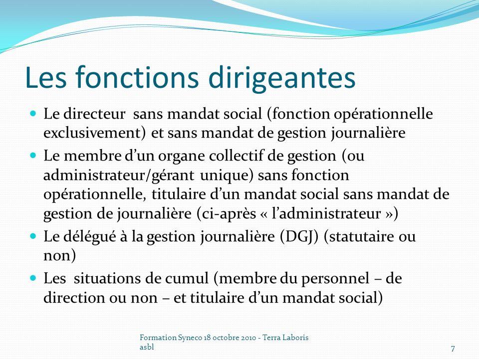 Formation Syneco 18 octobre 2010 - Terra Laboris asbl8 Le directeur ASBL/SFS Caractéristiques : fonctions opérationnelles de direction, hors gestion journalière et mandat social Statut .