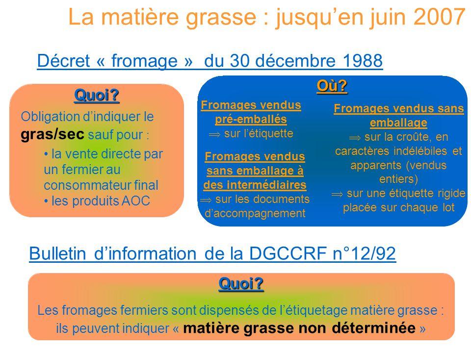 La matière grasse : à partir de juin 2007 Décret « fromage » du 27 avril 2007 Quoi.
