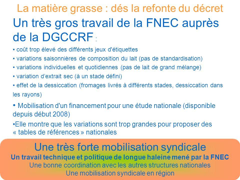 La matière grasse : depuis août 2008 Note dinformation n° 20008-176 de la DGCCRF Quoi.