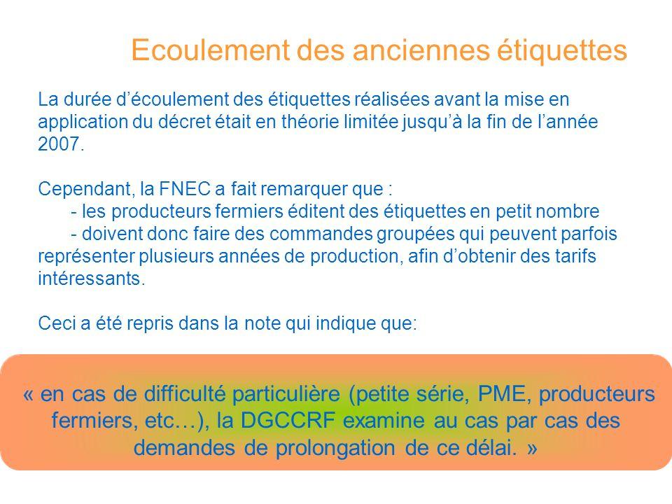 La durée découlement des étiquettes réalisées avant la mise en application du décret était en théorie limitée jusquà la fin de lannée 2007.