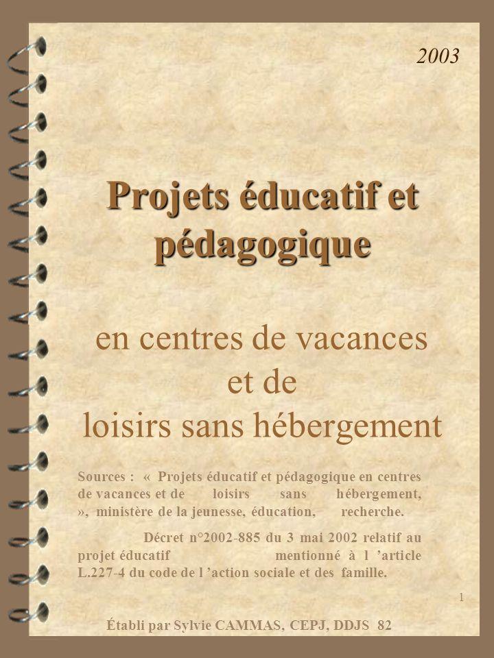 1 Projets éducatif et pédagogique en centres de vacances et de loisirs sans hébergement Sources :« Projets éducatif et pédagogique en centres de vacan