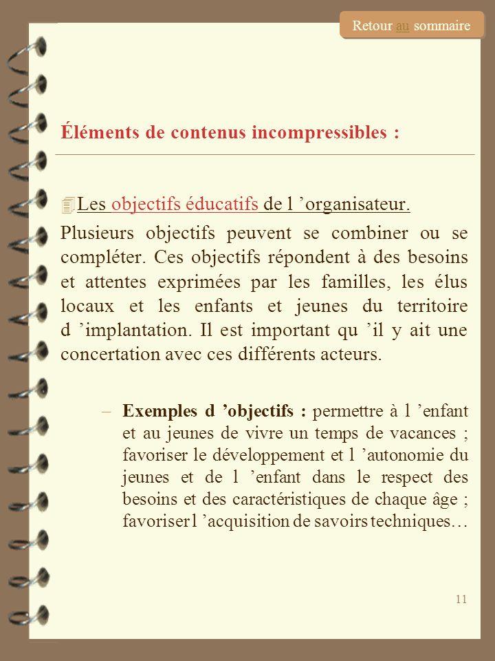 11 Éléments de contenus incompressibles : 4 Les objectifs éducatifs de l organisateur. Plusieurs objectifs peuvent se combiner ou se compléter. Ces ob