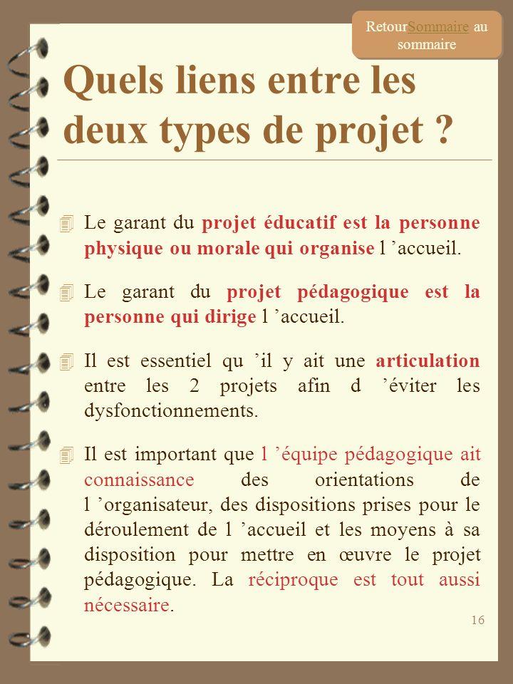 16 4 Le garant du projet éducatif est la personne physique ou morale qui organise l accueil. 4 Le garant du projet pédagogique est la personne qui dir