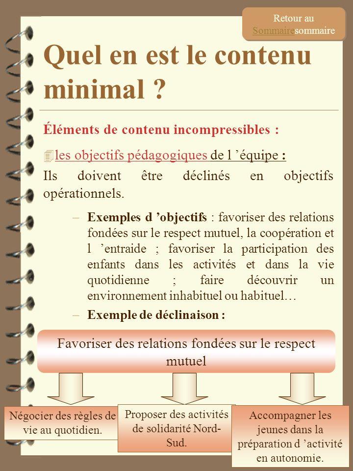 24 Éléments de contenu incompressibles : 4 les objectifs pédagogiques de l équipe : Ils doivent être déclinés en objectifs opérationnels. –Exemples d
