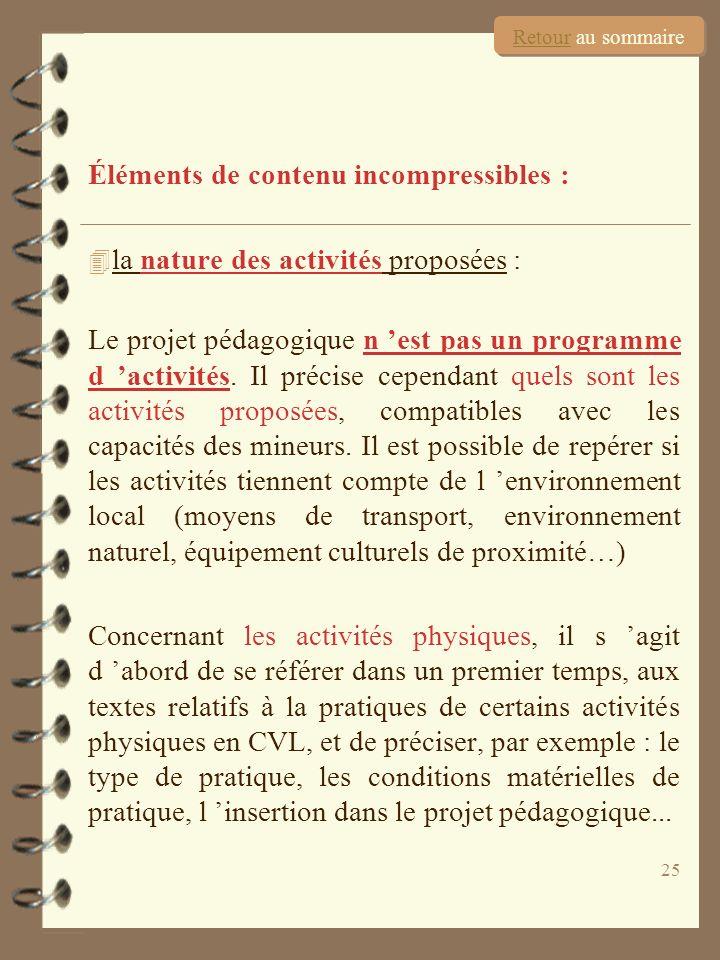 25 Éléments de contenu incompressibles : 4 la nature des activités proposées : Le projet pédagogique n est pas un programme d activités. Il précise ce