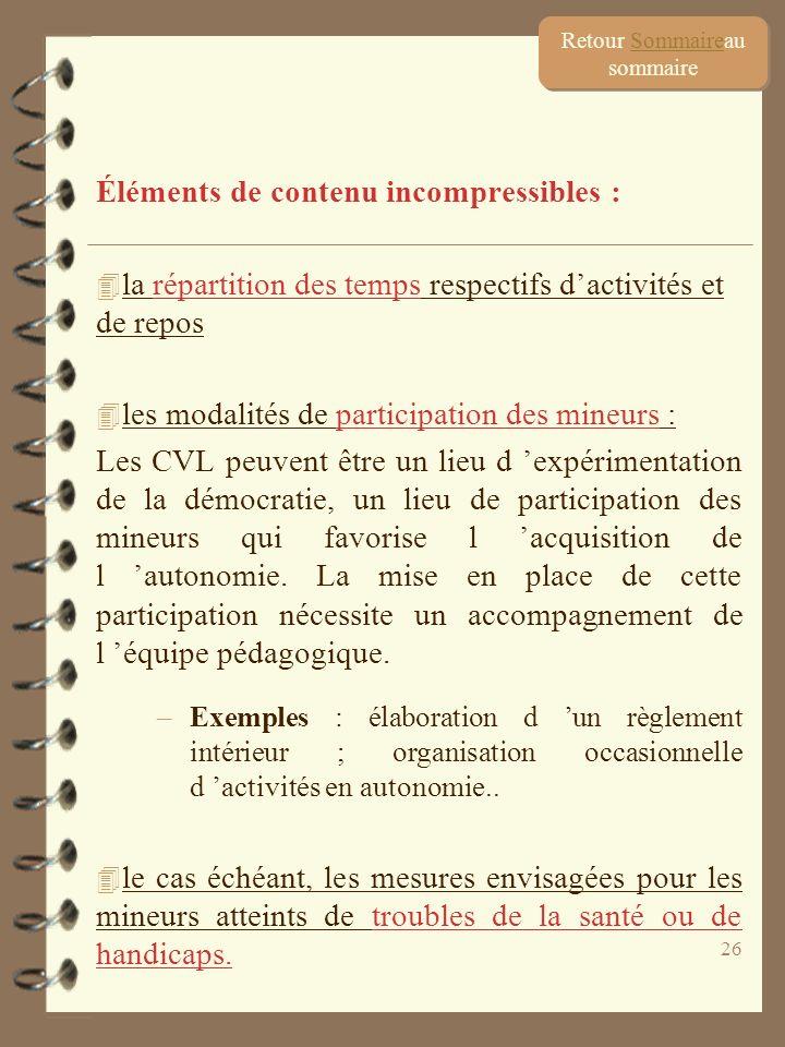 26 Éléments de contenu incompressibles : 4 la répartition des temps respectifs dactivités et de repos 4 les modalités de participation des mineurs : L