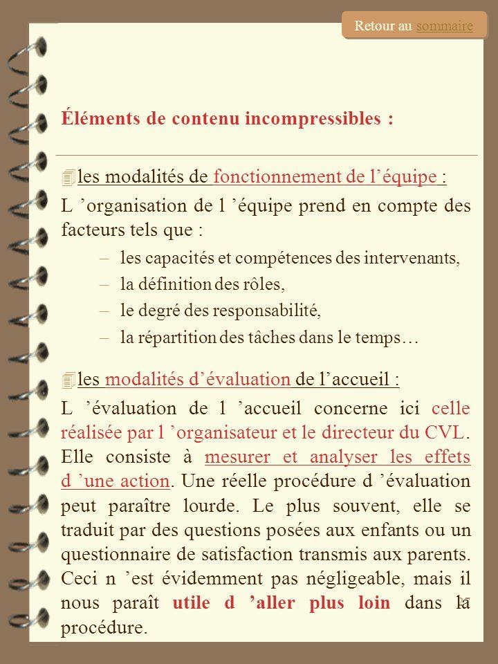 27 Éléments de contenu incompressibles : 4 les modalités de fonctionnement de léquipe : L organisation de l équipe prend en compte des facteurs tels q