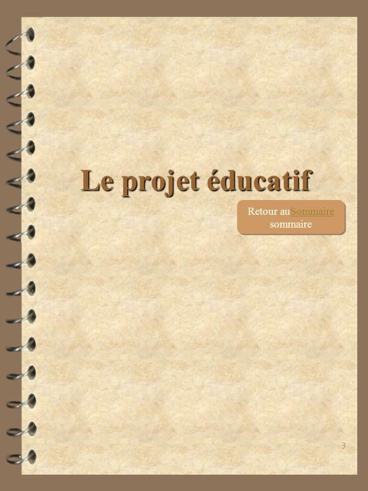 3 Le projet éducatif Retour auSommaire sommaireSommaire Retour auSommaire sommaireSommaire
