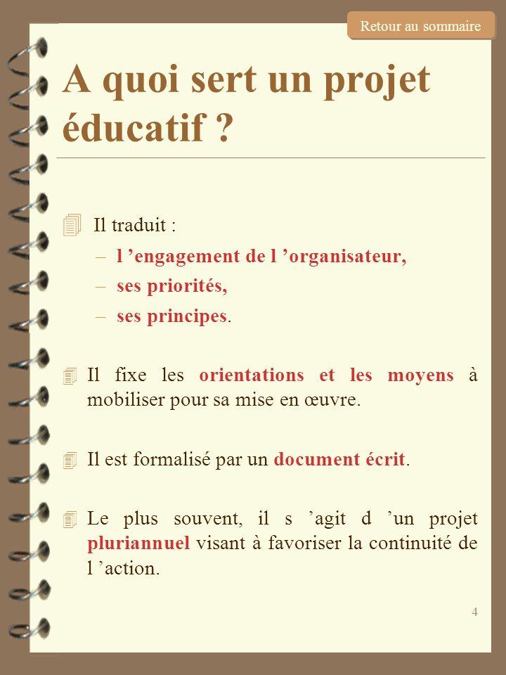 4 A quoi sert un projet éducatif ? 4 Il traduit : –l engagement de l organisateur, –ses priorités, –ses principes. 4 Il fixe les orientations et les m
