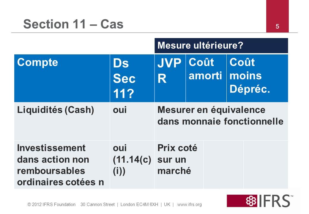 © 2012 IFRS Foundation 30 Cannon Street   London EC4M 6XH   UK   www.ifrs.org 36 Section 22 – Quiz et discussion Question 19: Le 20/12/X4, PME a voté un scission de ses actions ordinaires, 2 pour 1 au 15/1/X5.