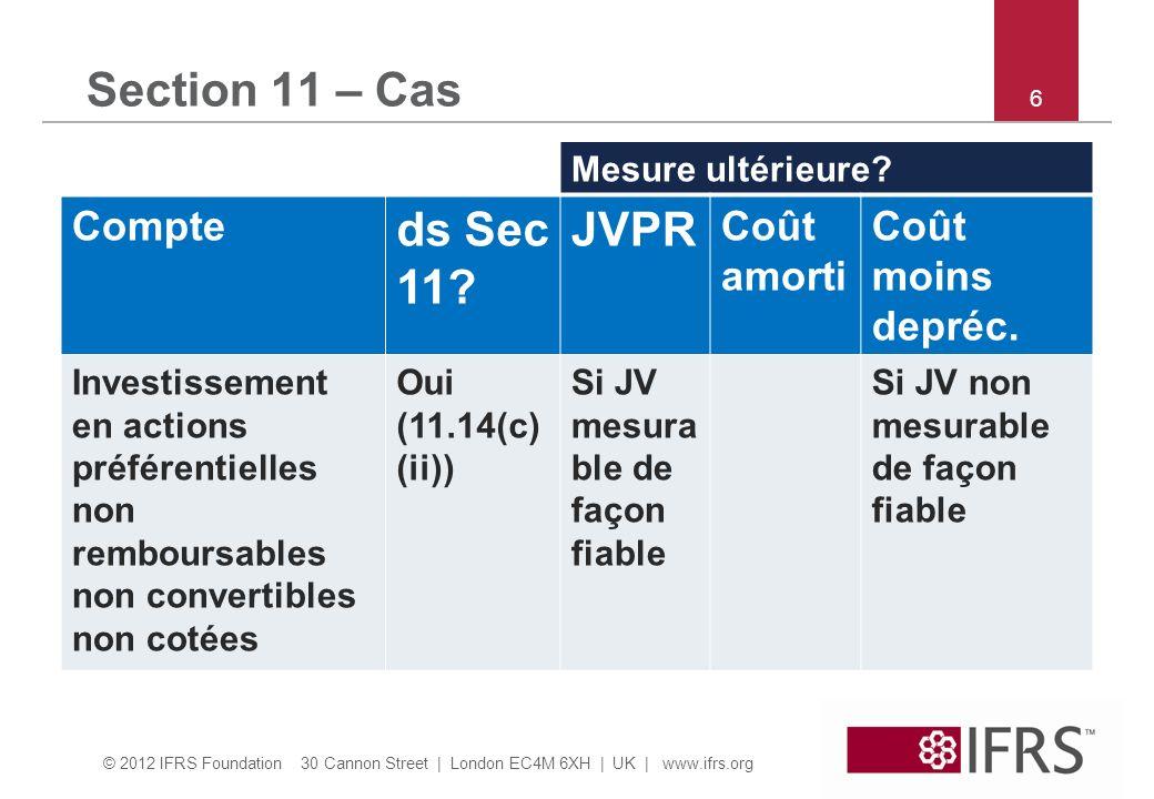 © 2012 IFRS Foundation 30 Cannon Street   London EC4M 6XH   UK   www.ifrs.org 37 Section 22 – Quiz et discussion Question 20: PME A a émis 100 actions à lactionnaire X en 20X2 pour 50 par action.