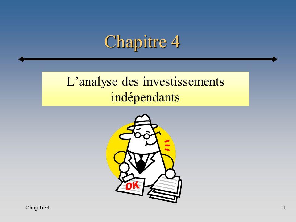 Chapitre 41 Lanalyse des investissements indépendants