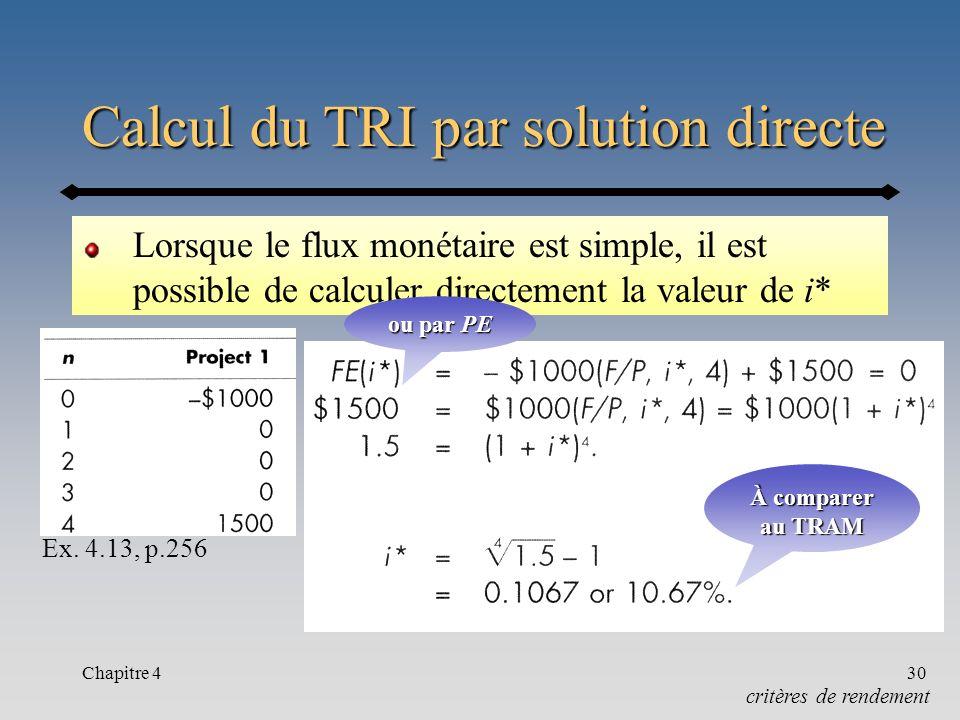 Chapitre 430 Calcul du TRI par solution directe Lorsque le flux monétaire est simple, il est possible de calculer directement la valeur de i* critères