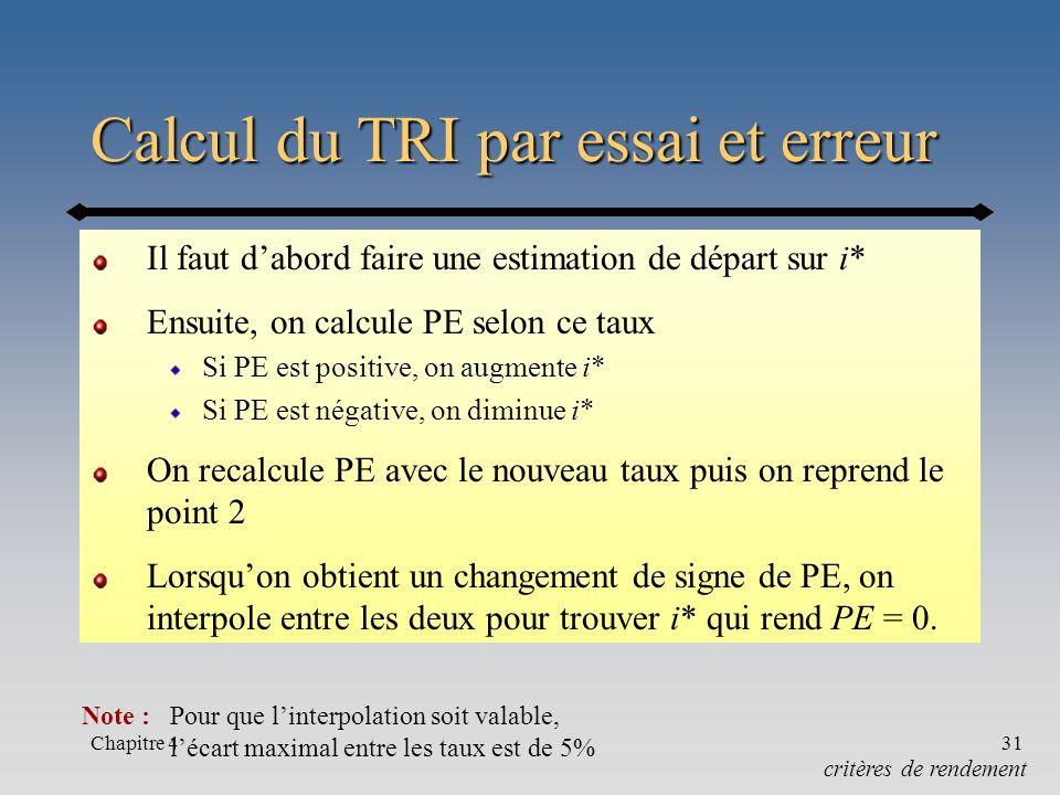 Chapitre 431 Calcul du TRI par essai et erreur Il faut dabord faire une estimation de départ sur i* Ensuite, on calcule PE selon ce taux Si PE est pos