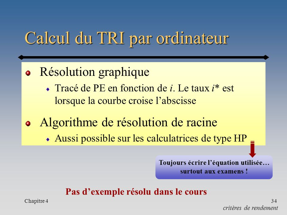Chapitre 434 Calcul du TRI par ordinateur Résolution graphique Tracé de PE en fonction de i. Le taux i* est lorsque la courbe croise labscisse Algorit