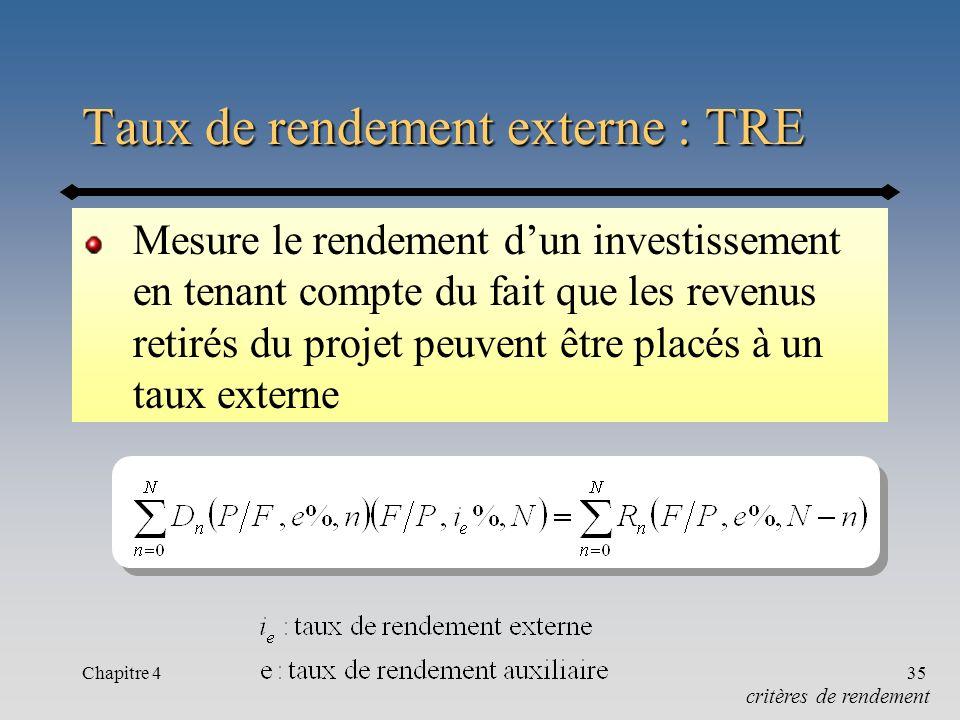 Chapitre 435 Taux de rendement externe : TRE Mesure le rendement dun investissement en tenant compte du fait que les revenus retirés du projet peuvent