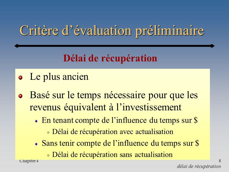 Chapitre 48 Critère dévaluation préliminaire Le plus ancien Basé sur le temps nécessaire pour que les revenus équivalent à linvestissement En tenant c