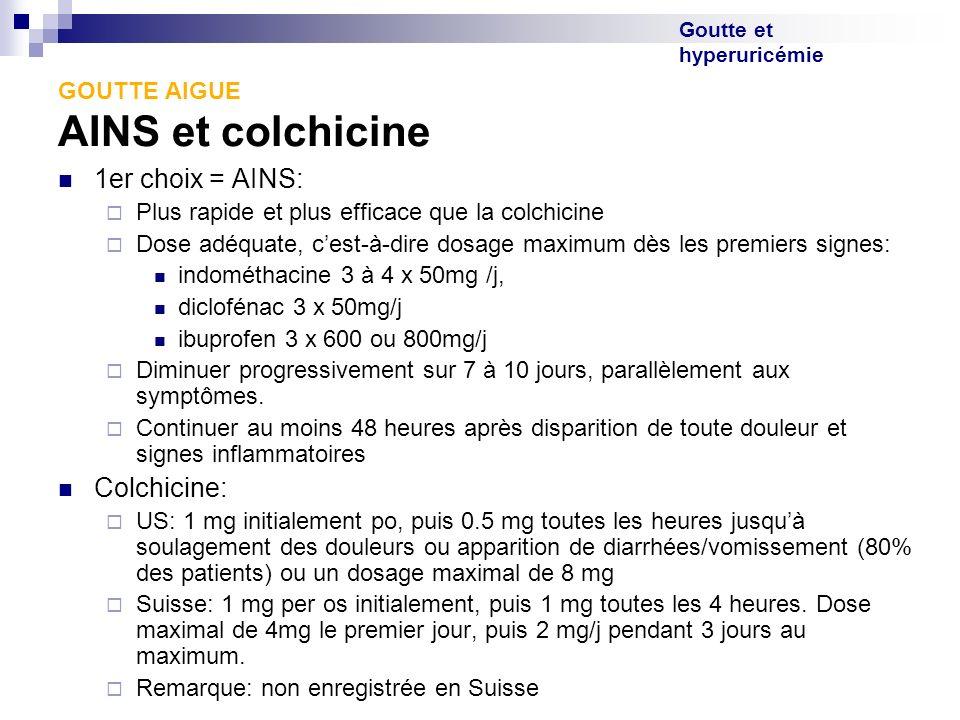 Goutte et hyperuricémie GOUTTE AIGUE AINS et colchicine 1er choix = AINS: Plus rapide et plus efficace que la colchicine Dose adéquate, cest-à-dire do