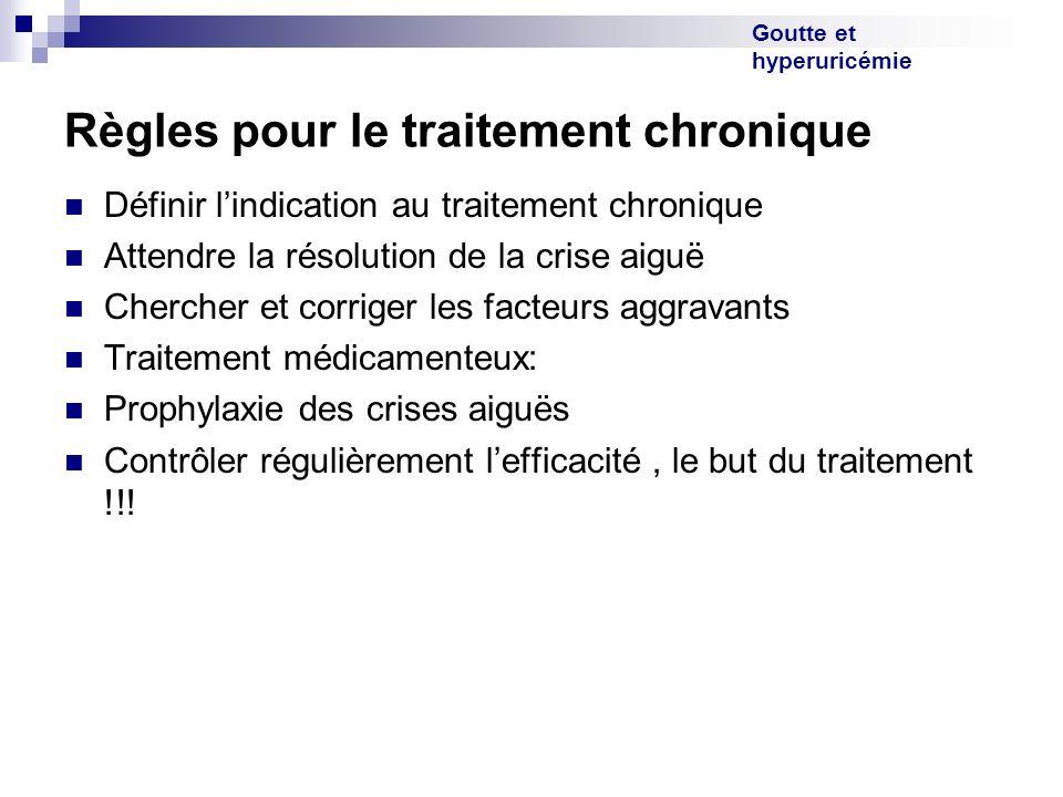 Goutte et hyperuricémie Règles pour le traitement chronique Définir lindication au traitement chronique Attendre la résolution de la crise aiguë Cherc