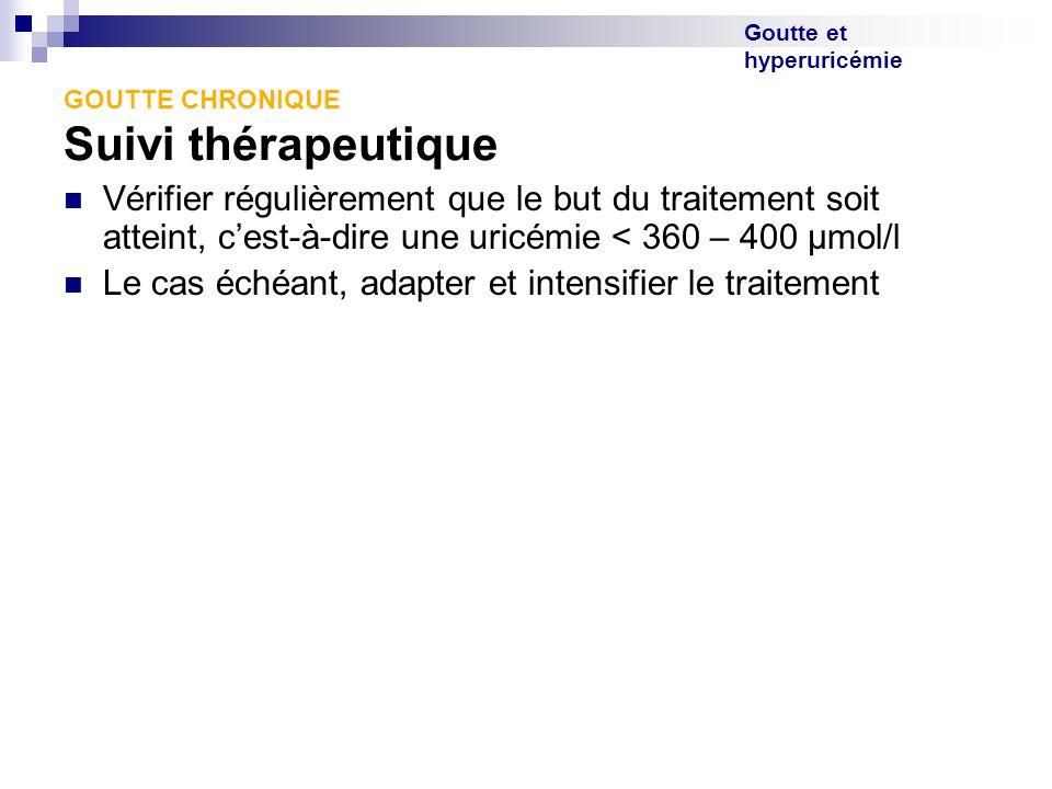 Goutte et hyperuricémie GOUTTE CHRONIQUE Suivi thérapeutique Vérifier régulièrement que le but du traitement soit atteint, cest-à-dire une uricémie <