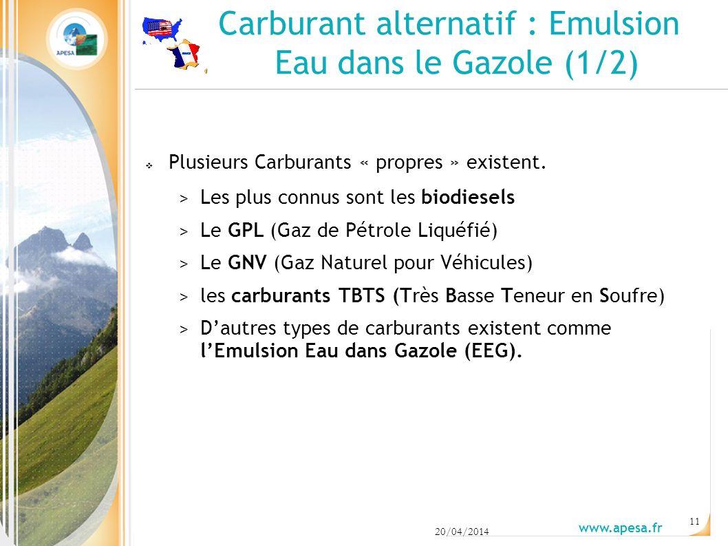 Carburant alternatif : Emulsion Eau dans le Gazole (1/2) Plusieurs Carburants « propres » existent.