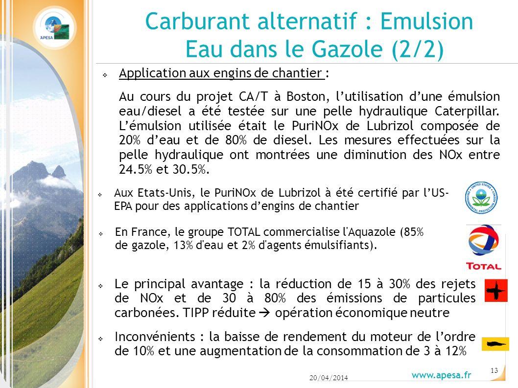 20/04/2014 www.apesa.fr 13 Application aux engins de chantier : Au cours du projet CA/T à Boston, lutilisation dune émulsion eau/diesel a été testée sur une pelle hydraulique Caterpillar.