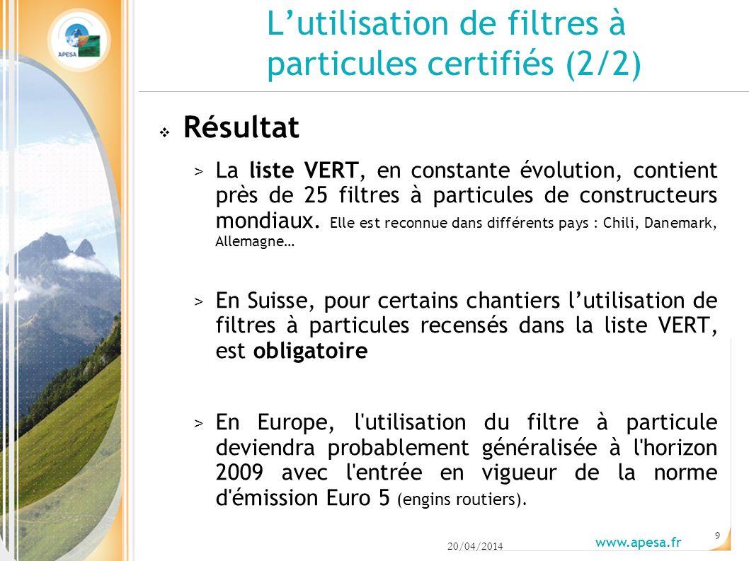 Lutilisation de filtres à particules certifiés (2/2) Résultat > La liste VERT, en constante évolution, contient près de 25 filtres à particules de constructeurs mondiaux.