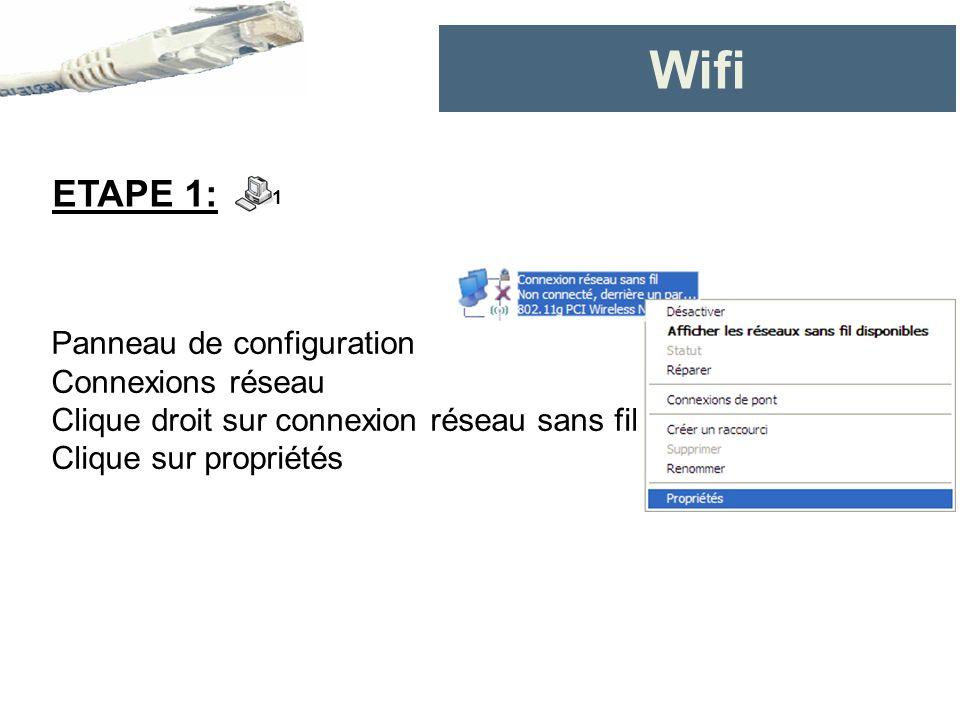 Panneau de configuration Connexions réseau Clique droit sur connexion réseau sans fil Clique sur propriétés ETAPE 1: 1