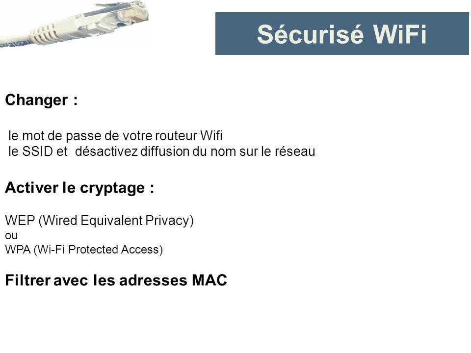 Sécurisé WiFi Changer : le mot de passe de votre routeur Wifi le SSID et désactivez diffusion du nom sur le réseau Activer le cryptage : WEP (Wired Eq