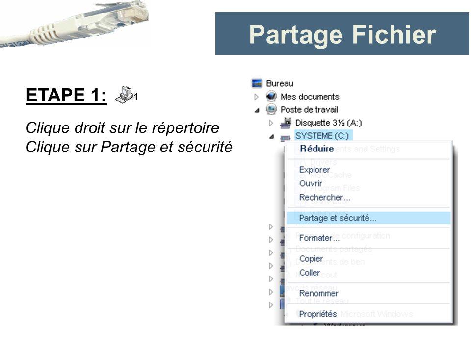 Partage Fichier Clique droit sur le répertoire Clique sur Partage et sécurité ETAPE 1: 1