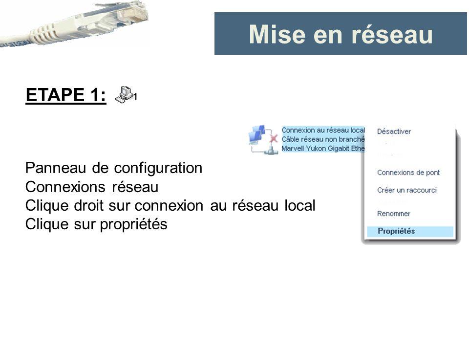 Mise en réseau Panneau de configuration Connexions réseau Clique droit sur connexion au réseau local Clique sur propriétés ETAPE 1: 1