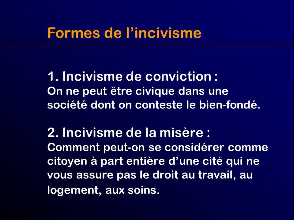 2. Incivisme de la misère : Comment peut-on se considérer comme citoyen à part entière dune cité qui ne vous assure pas le droit au travail, au logeme