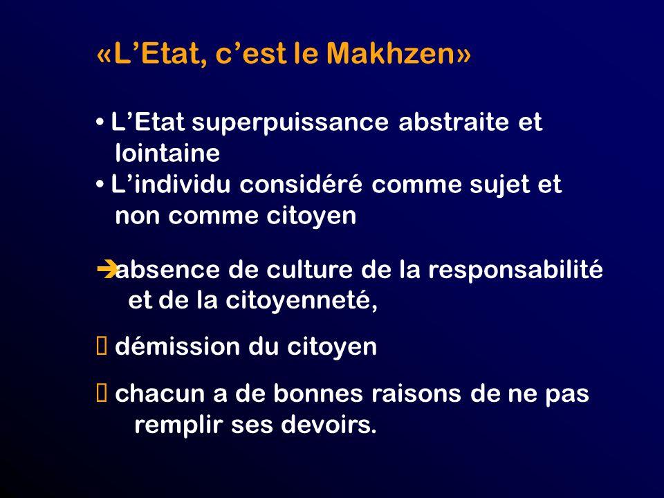 «LEtat, cest le Makhzen» LEtat superpuissance abstraite et lointaine Lindividu considéré comme sujet et non comme citoyen absence de culture de la responsabilité et de la citoyenneté, démission du citoyen chacun a de bonnes raisons de ne pas remplir ses devoirs.