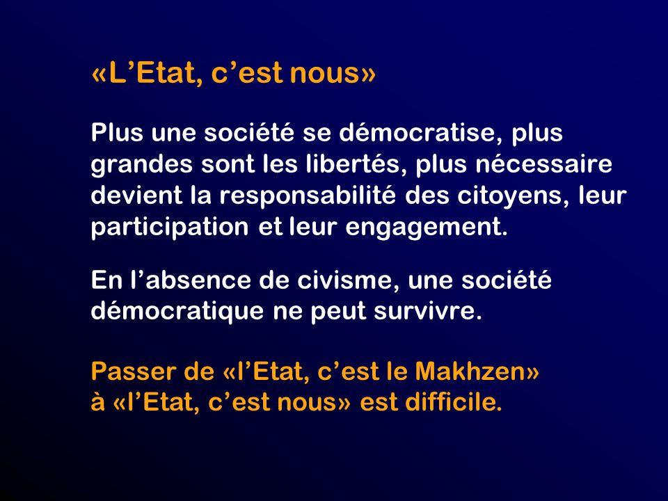 «LEtat, cest nous» Plus une société se démocratise, plus grandes sont les libertés, plus nécessaire devient la responsabilité des citoyens, leur participation et leur engagement.