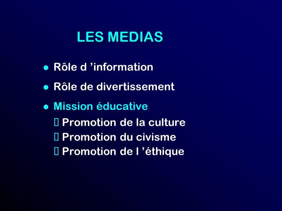 LES MEDIAS l Rôle d information l Rôle de divertissement l Mission éducative Promotion de la culture Promotion du civisme Promotion de l éthique