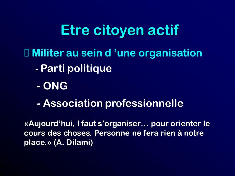 Etre citoyen actif Militer au sein d une organisation - Parti politique - ONG - Association professionnelle «Aujourdhui, l faut sorganiser… pour orienter le cours des choses.