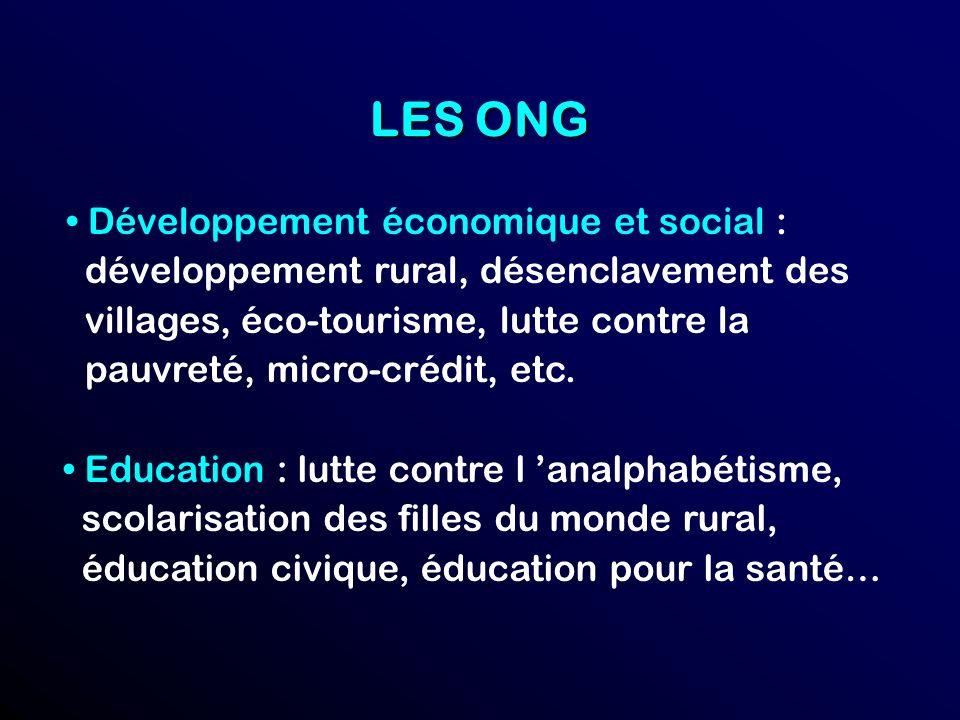 LES ONG Développement économique et social : développement rural, désenclavement des villages, éco-tourisme, lutte contre la pauvreté, micro-crédit, etc.