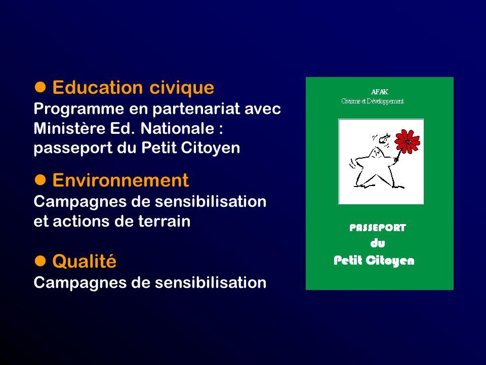 Education civique Programme en partenariat avec Ministère Ed.