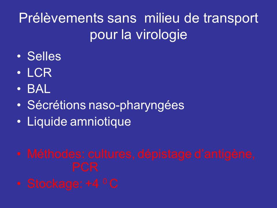 Prélèvements sans milieu de transport pour la virologie Selles LCR BAL Sécrétions naso-pharyngées Liquide amniotique Méthodes: cultures, dépistage dan