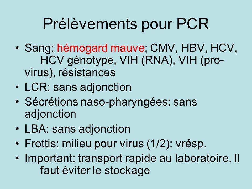 Prélèvements pour PCR Sang: hémogard mauve; CMV, HBV, HCV, HCV génotype, VIH (RNA), VIH (pro- virus), résistances LCR: sans adjonction Sécrétions naso