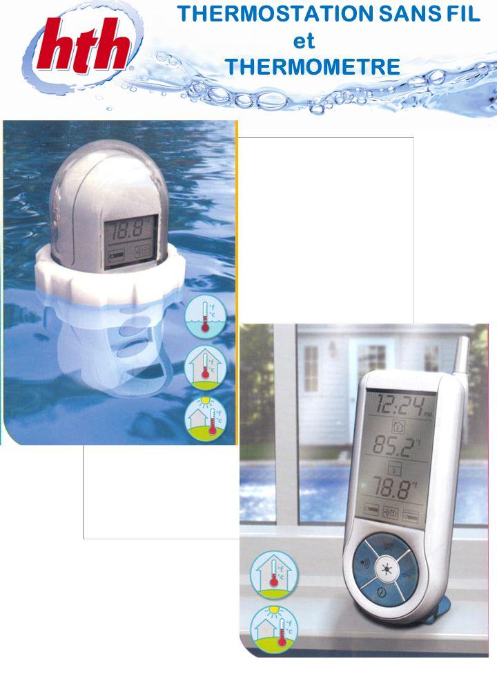 5 THERMOMETRE Relève la température de leau Etanche à leau Transmet la température relevée à lunité du RECEPTEUR 3 boutons doption (rétro- éclairage, affichage, sélection du canal de transmission) Pile AA Cordon dattache